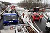 LKW Umfall in Autobahnausfahrt